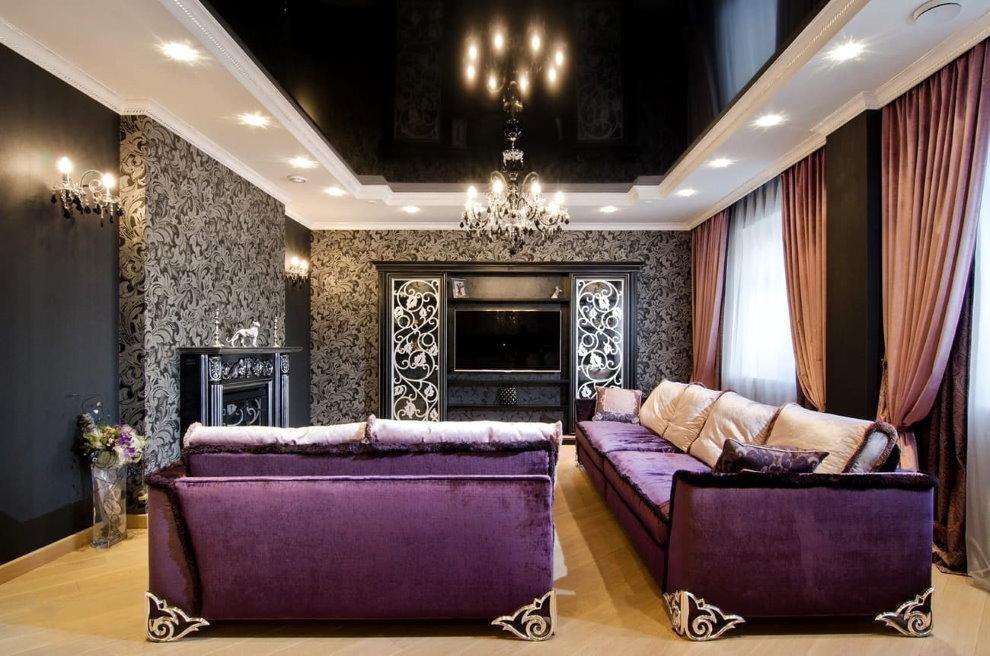 Фиолетовая обивка диванов в гостиной арт деко
