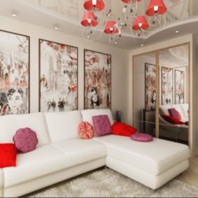 диван в гостиной виды