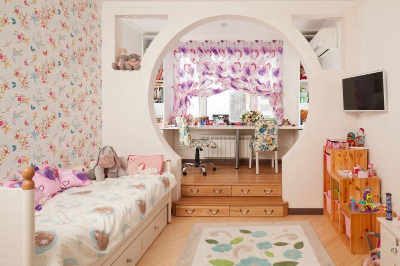 арка из гипсокартона в детской комнате