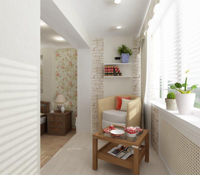дизайн балкона совмещенного со спальней