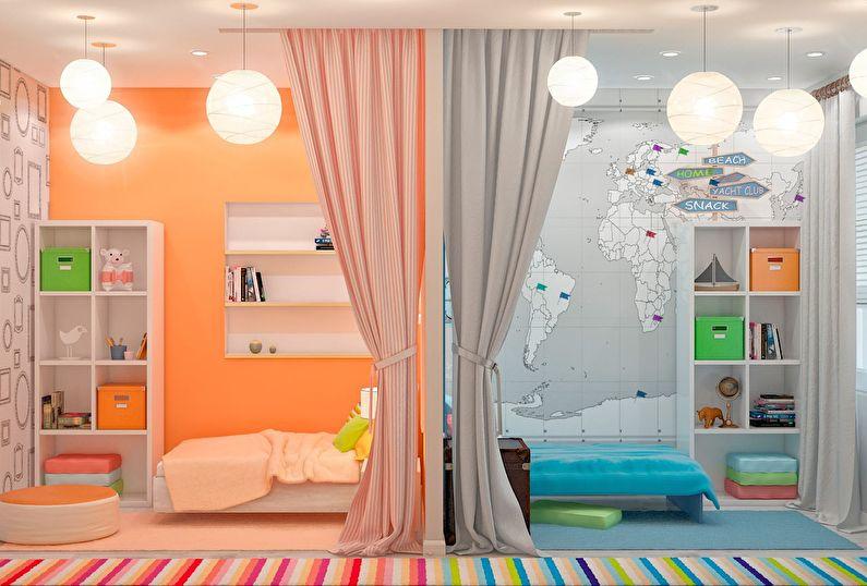 дизайн детской комнаты для разнополых детей обзор