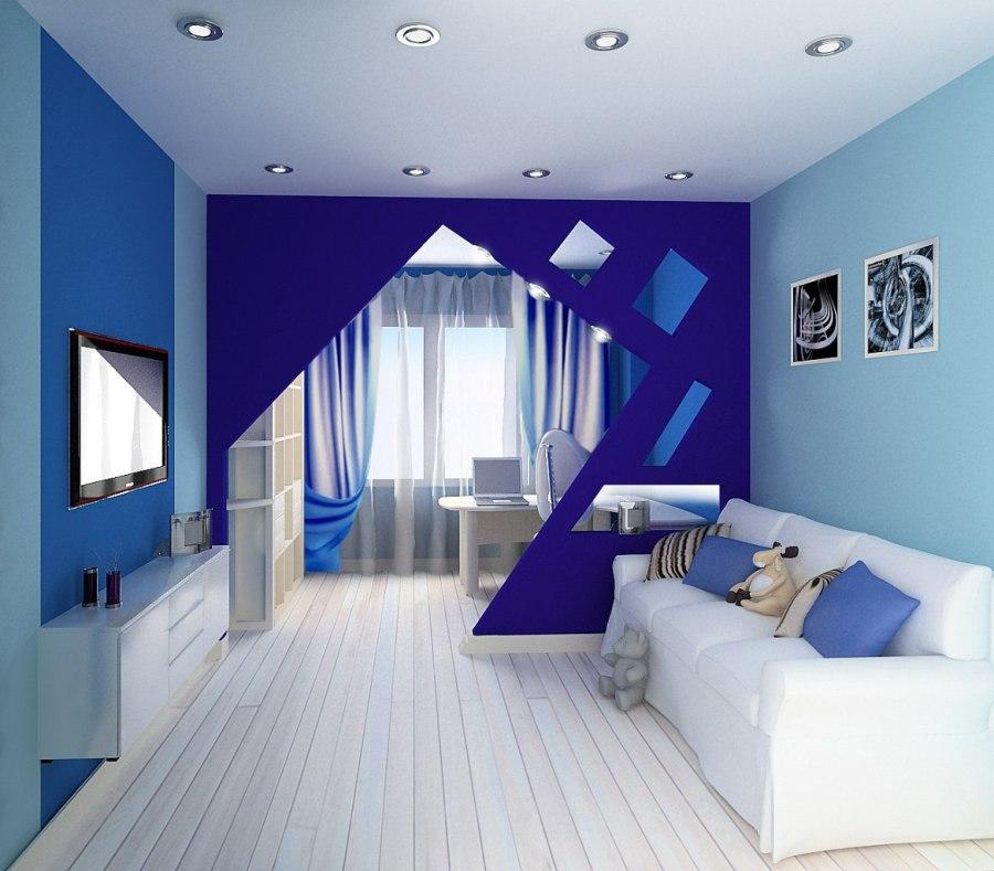 дизайн гостиной в голубых и синих тонах 17 кв м