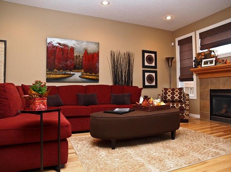 дизайн гостиной 17 кв м в красных тонах