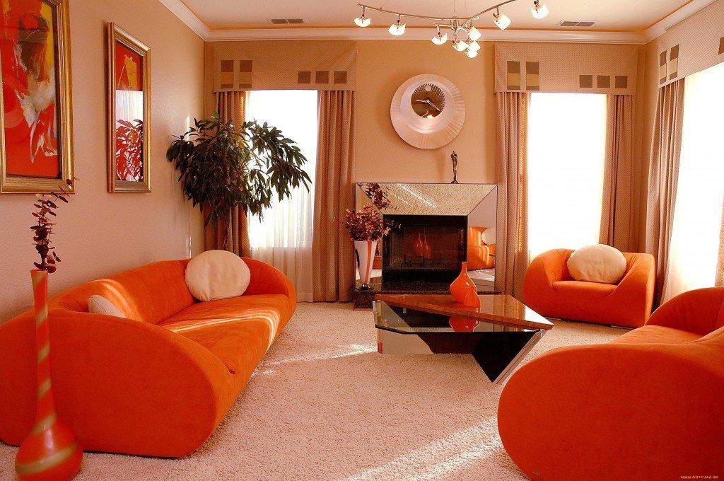 дизайн гостиной 17 кв м в оранжевых тонах