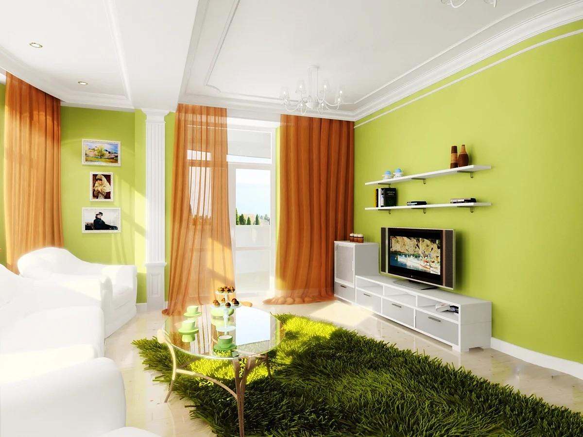 гостиная в зеленых тонах 17кв м