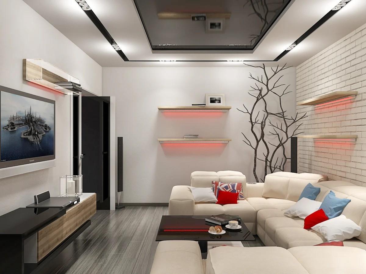дизайн гостиной 17 кв м хай тек