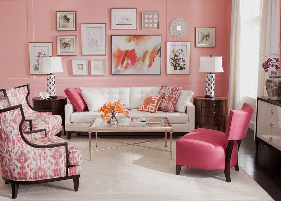 гостиная комната в светлых тонах с розовым