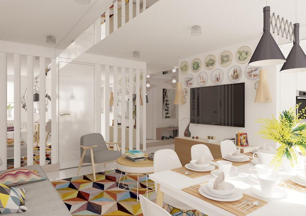 Светлая гостиная в 4-х комнатной брежневке