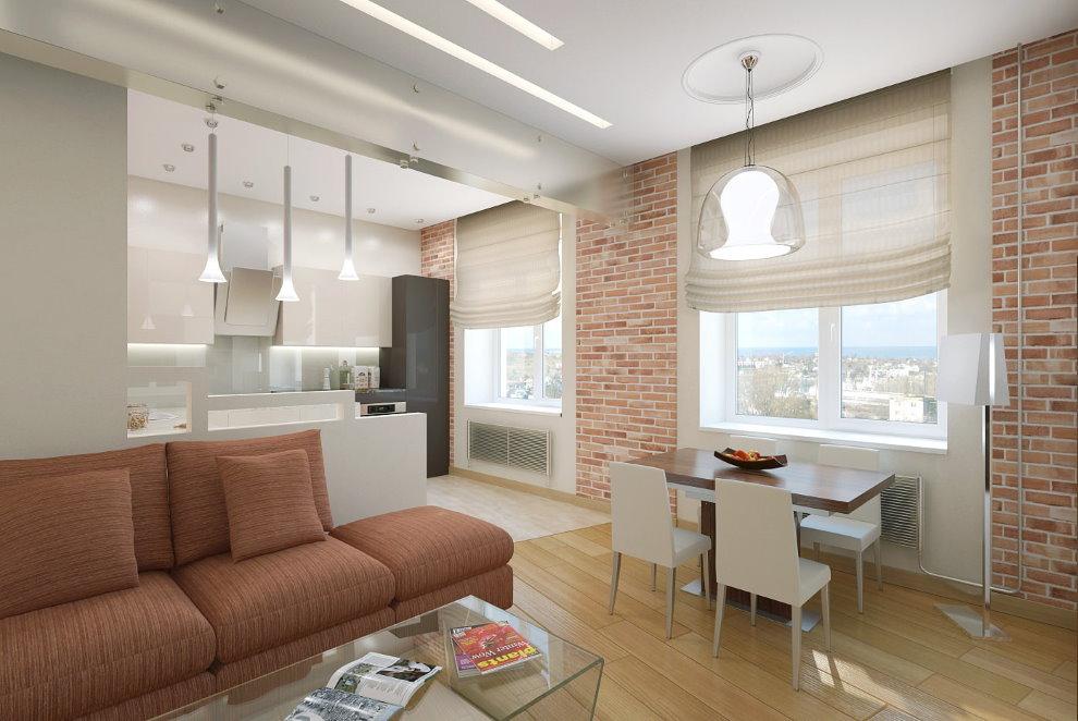 Дизайн кухни-гостиной в кирпичном доме