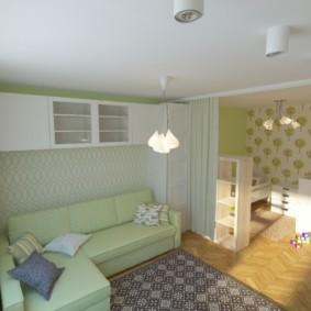однокомнатная квартира для семьи с ребенком идеи вариантов