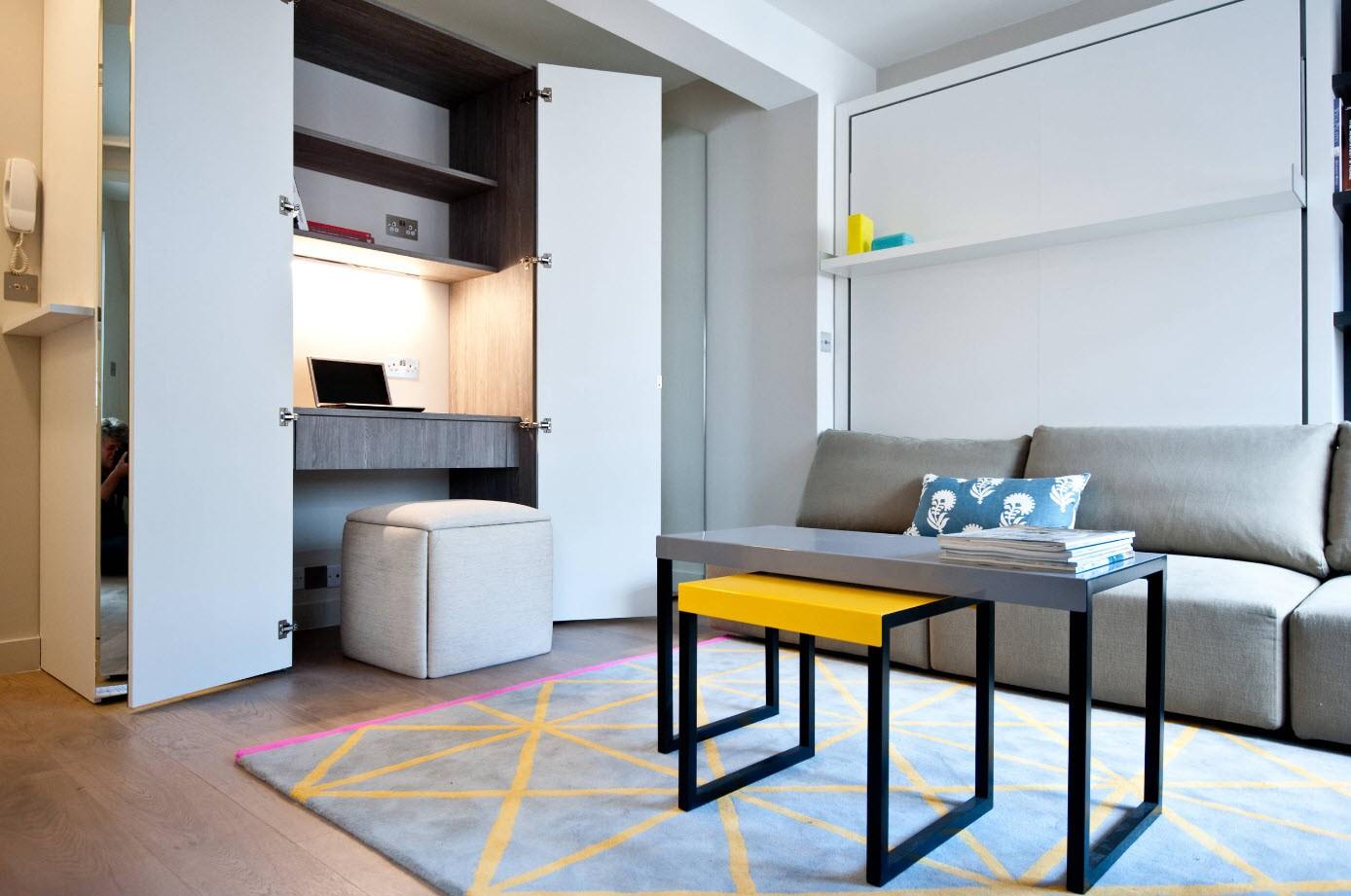 рабочее место в квартире студии 28 кв м