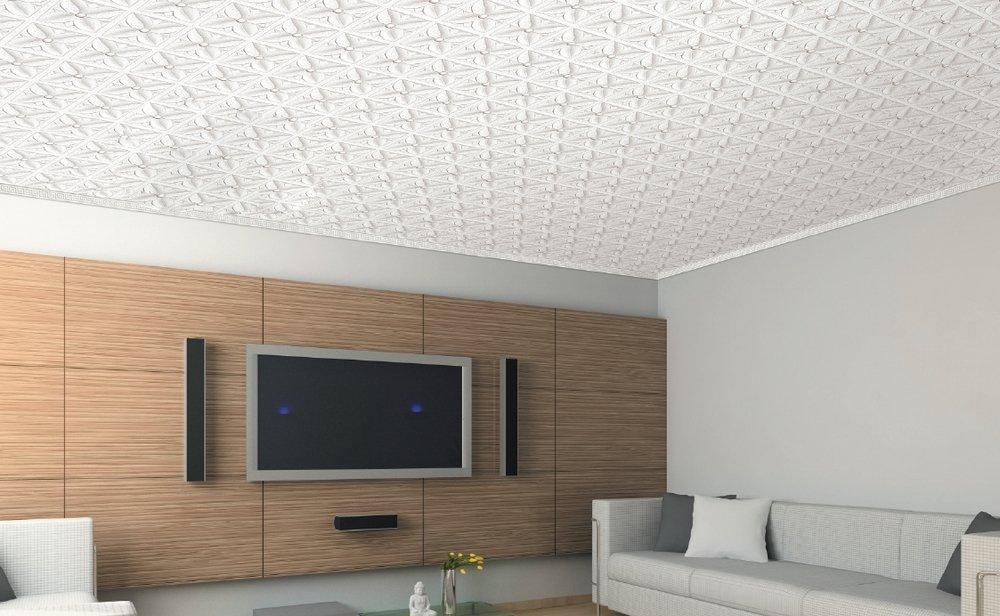 потолок в гостиной полистироловый