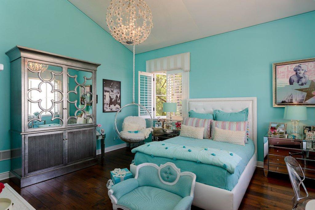 дизайн спальни для девушки голубой