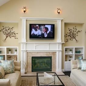 дизайн стен в гостиной комнате идеи интерьера