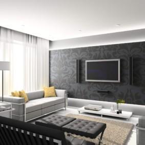 дизайн стен в гостиной комнате виды