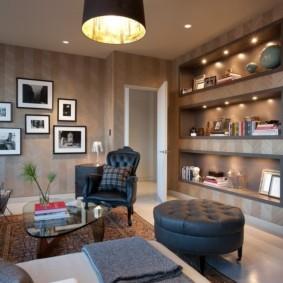 дизайн стен в гостиной комнате фото виды