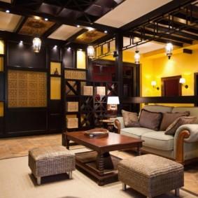 дизайн стен в гостиной комнате в японском стиле
