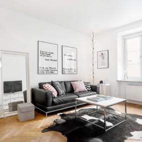 дизайн стен в гостиной комнате в скандинавском стиле
