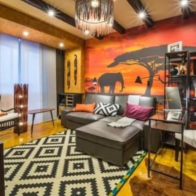 дизайн стен в гостиной комнате этно