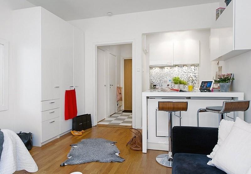 кухня в квартире студии 28 кв м
