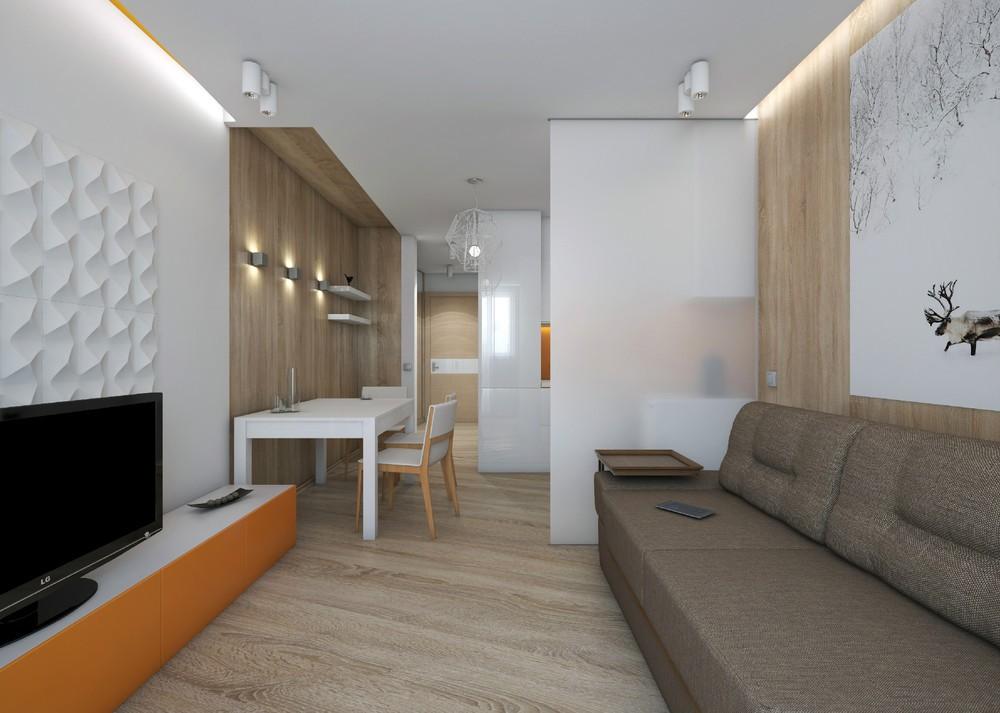 квартира студия 28 кв м в стиле минимализм