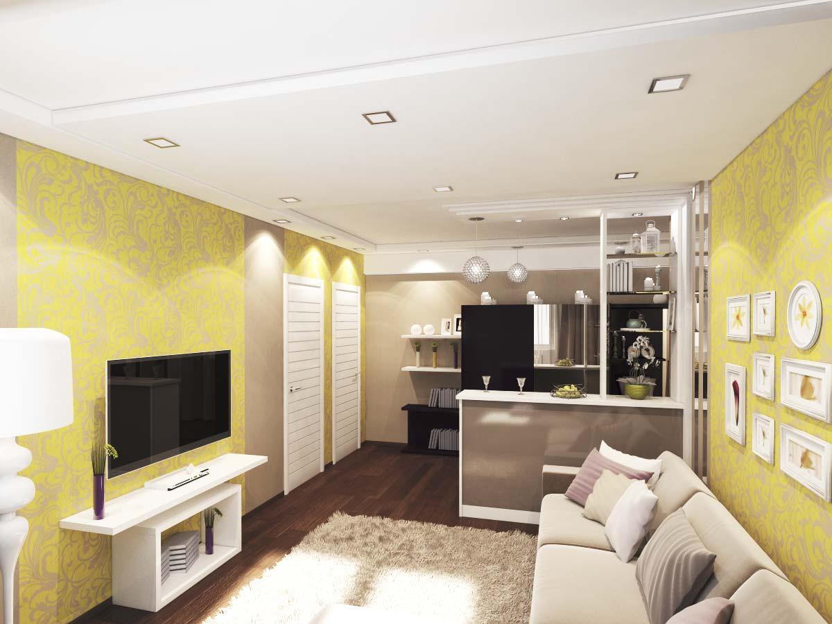 дизайн трехкомнатной квартиры с обоями