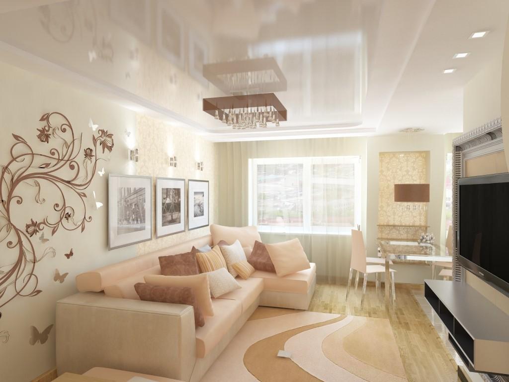 дизайн трехкомнатной квартиры стены