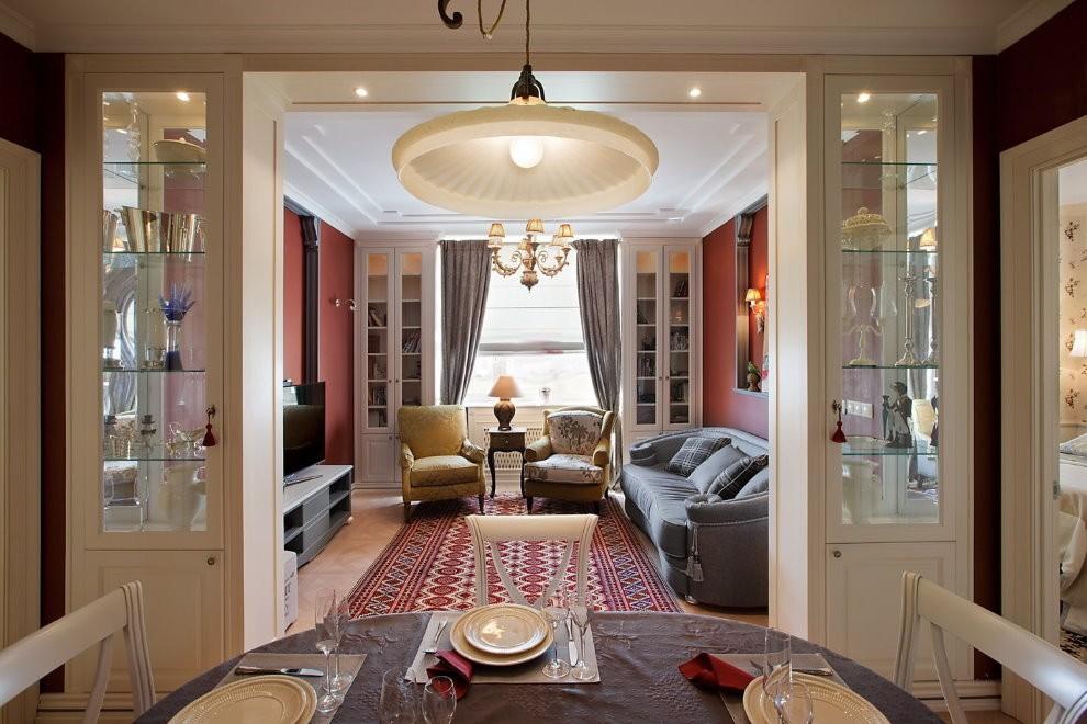 Декорирование дверного проема в гостиной стиля неоклассика