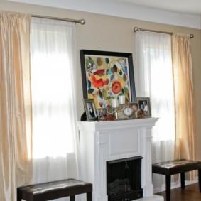 шторы в зал на два окна фото идеи