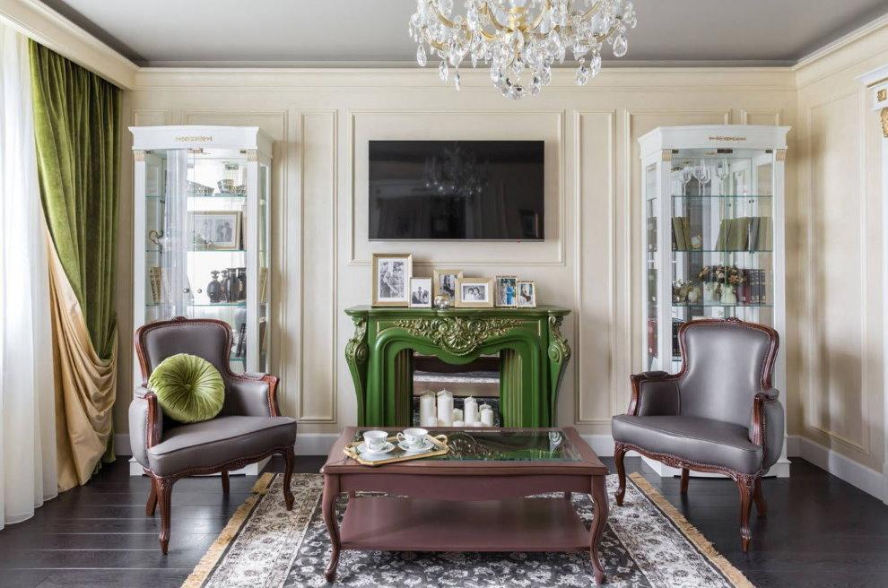 Двухсторонние шторы в гостиной стиля неоклассика