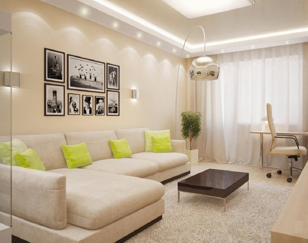 Двухуровневый потолок в гостиной с диваном
