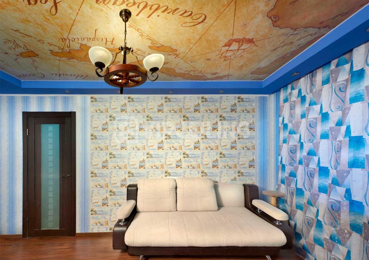 потолок из гипсокартона для гостиной с рисунком