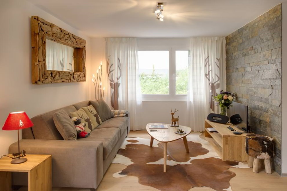 Интерьер гостиной квартиры в эко стиле