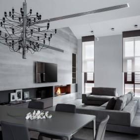 Серая мебель в белой комнате