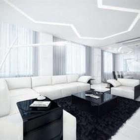 Белая гостиная в стиле хай тек