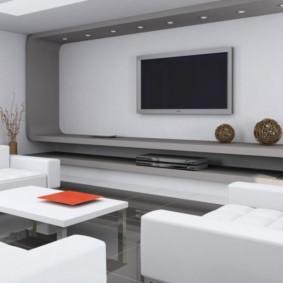 Хай-тек в интерьере белой гостиной