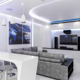 Неоновая подсветка белого потолка