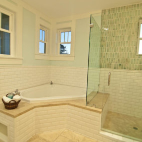 Стеклянная перегородка между ванной и душем