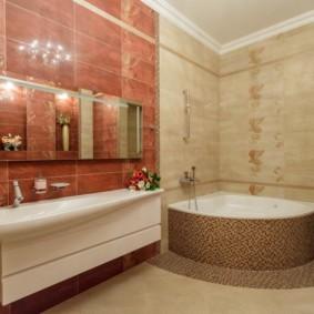 Акриловая раковина на стене ванной