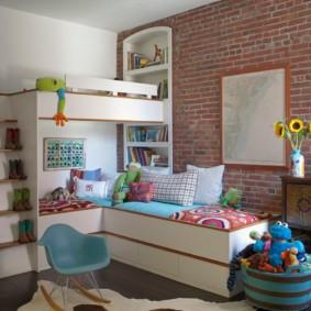 Кирпичная кладка в интерьере детской комнаты