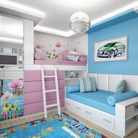 Голубой цвет в отделке детской комнаты