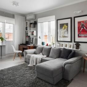 Угловая гостиная с удобным диваном