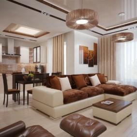 Проволочные светильники на потолке гостиной