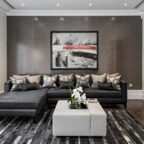 Серая стена в гостиной современного стиля