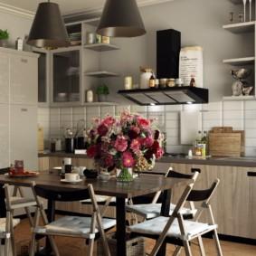 Современная кухня с обеденной зоной