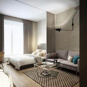 Зонирование комнаты с помощью шторы