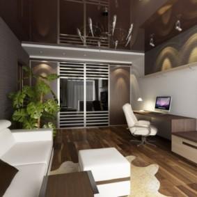 Дизайн комнаты с темным потолком