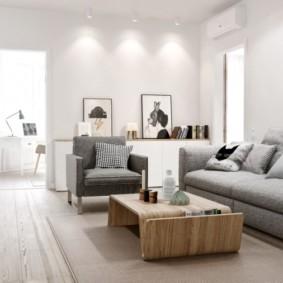 Освещение проходной гостиной в квартире