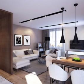 Дизайн кухни-гостиной в коричневых тонах