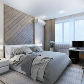Деревянные панели над изголовьем кровати